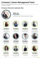 One Page Companys Senior Management Team Report Infographic PPT PDF Document