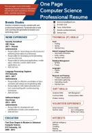 One Page Computer Science Professional Resume Presentation Report Infographic PPT PDF Document