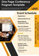 One Page Conference Program Template Presentation Report Infographic PPT PDF Document