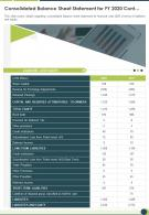 One Page Consolidated Balance Sheet Statement For FY 2020 Cont Template 91 Infographic PPT PDF Document