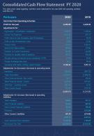 One Page Consolidated Cash Flow Statement FY 2020 Template 358 Report Infographic PPT PDF Document