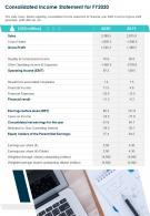 One Page Consolidated Income Statement For Fy2020 Report Infographic PPT PDF Document