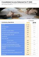 One Page Consolidated Income Statement For FY 2020 Template 133 Report Infographic PPT PDF Document