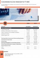 One Page Consolidated Income Statement For FY 2020 Template 343 Report Infographic PPT PDF Document