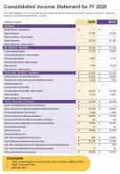 One Page Consolidated Income Statement For FY 2020 Template 417 Report Infographic PPT PDF Document