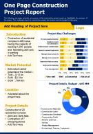 One Page Construction Project Report Presentation Report Infographic PPT PDF Document