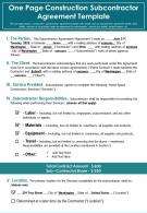 One Page Construction Subcontractor Agreement Template Presentation Report Infographic PPT PDF Document
