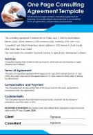 One Page Consulting Agreement Template Presentation Report Infographic PPT PDF Document