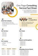 One Page Consulting Service Fact Sheet Presentation Report Infographic PPT PDF Document