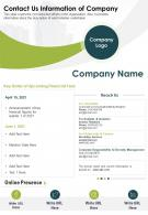 One Page Contact Us Information Of Company Presentation Report Infographic PPT PDF Document