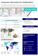 One Page Corporate Information For Stakeholders Presentation Report Infographic PPT PDF Document