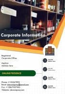One Page Corporate Information Presentation Report Infographic PPT PDF Document