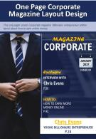 One Page Corporate Magazine Layout Design Presentation Report Infographic PPT PDF Document