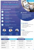 One Page Cost Of Website Maintenance Presentation Report Infographic PPT PDF Document