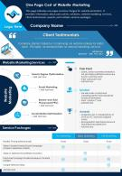 One Page Cost Of Website Marketing Presentation Report Infographic PPT PDF Document