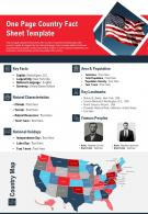 One Page Country Fact Sheet Template Presentation Report Infographic PPT PDF Document