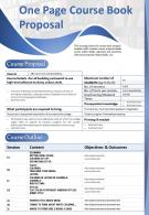 One Page Course Book Proposal Presentation Report Infographic PPT PDF Document