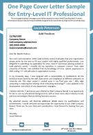 One Page Cover Letter Sample For Entry Level IT Professional Presentation Report Infographic PPT PDF Document