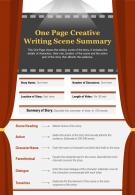 One Page Creative Writing Scene Summary Presentation Report Infographic PPT PDF Document