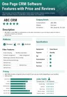 One Page CRM Software Features With Price And Reviews Presentation Report Infographic PPT PDF Document