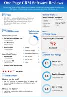 One Page CRM Software Reviews Presentation Report Infographic PPT PDF Document