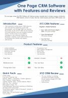 One Page CRM Software With Features And Reviews Presentation Report Infographic PPT PDF Document