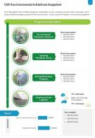 One Page CSR Environmental Initiatives Snapshot Presentation Report Infographic PPT PDF Document