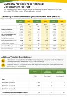 One Page Current And Previous Year Financial Development For Trust Report Infographic PPT PDF Document