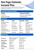 One Page Customer Account Plan Presentation Report Infographic PPT PDF Document