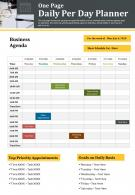 One Page Daily Per Day Planner Presentation Report Infographic Ppt Pdf Document
