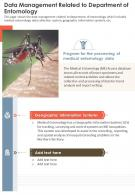 One Page Data Management Related To Department Of Entomology Report Infographic PPT PDF Document