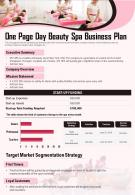 One Page Day Beauty Spa Business Plan Presentation Report Infographic PPT PDF Document
