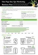 One Page Day Spa Marketing Business Plan Presentation Report Infographic PPT PDF Document