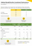 One Page Defined Benefit Section Investment Performance Presentation Report Infographic PPT PDF Document