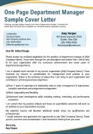 One Page Department Manager Sample Cover Letter Presentation Report Infographic PPT PDF Document