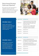 One Page Departmental Strategic Goals And Objectives Presentation Report Infographic PPT PDF Document