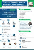One Page Designing Agency Bootstrap Template Report Presentation Report PPT PDF Document