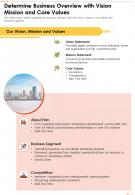 One Page Determine Business Overview With Vision Mission And Core Values Report Infographic PPT PDF Document