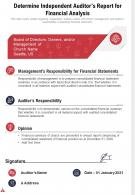 One Page Determine Independent Auditors Report For Firm Financial Review Template 207 Ppt Pdf Document