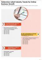 One Page Determine Latest Industry Trends For Online Business Growth Report Infographic PPT PDF Document