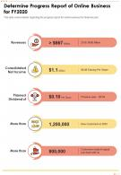 One Page Determine Progress Report Of Online Business For FY2020 Report Infographic PPT PDF Document