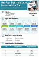 One Page Digital Marketing Implementation Plan Presentation Report Infographic PPT PDF Document