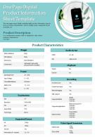 One Page Digital Product Information Sheet Template Presentation Report Infographic PPT PDF Document