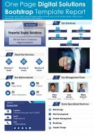 One Page Digital Solutions Bootstrap Template Report Presentation Report PPT PDF Document