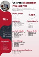 One Page Dissertation Proposal PhD Presentation Report Infographic PPT PDF Document