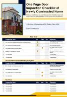 One Page Door Inspection Checklist Of Newly Constructed Home Presentation Report Infographic PPT PDF Document