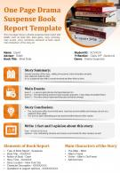 One Page Drama Suspense Book Report Template Presentation Report Infographic PPT PDF Document
