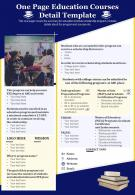 One Page Education Courses Detail Template Presentation Report Infographic PPT PDF Document