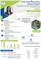 One Page Education Impact Report Presentation Report Infographic PPT PDF Document