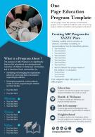 One Page Education Program Template Presentation Report Infographic PPT PDF Document